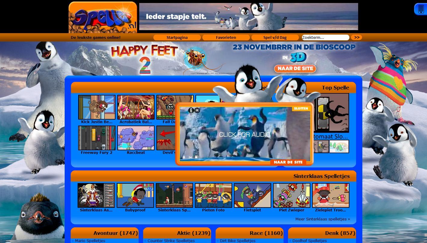 Happy Feet 2 Homepage take-over op Spelle.nl
